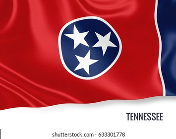 Flag of U.S. state Tennessee waving on an isolated white background. State name is included below the flag. 3D rendering.