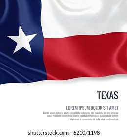 Flag of U.S. state Texas waving on an isolated white background. State name and the text area for your message.