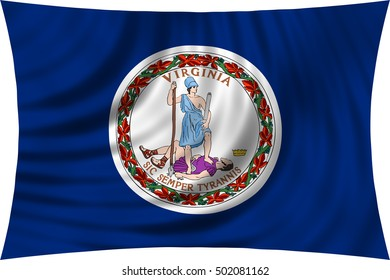 Flag of the US state of Virginia. American patriotic element. USA banner. United States of America symbol. Virginian official flag waving, isolated on white, illustration