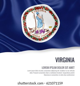 Flag of U.S. state Virginia waving on an isolated white background. State name and the text area for your message.