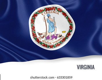 Flag of U.S. state Virginia waving on an isolated white background. State name and the text area for your message. State name is included below the flag. 3D rendering.