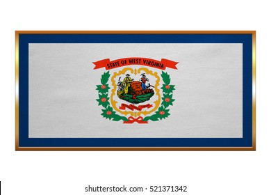Flag of the US state of West Virginia. American patriotic element. USA banner. United States of America symbol. West Virginian official flag, golden frame, textured, illustration. Accurate size, color