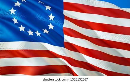 Flag of USA. 3D Waving flag design. The national symbol of USA, 3D rendering. The national symbol of Betsy Ross background wallpaper. American 3D ribbon, wallpaper, pattern background