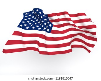 Flag USA isolated on white background. 3d rendering illustration.