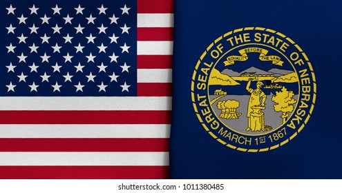 Flag of USA and Nebraska state (USA)