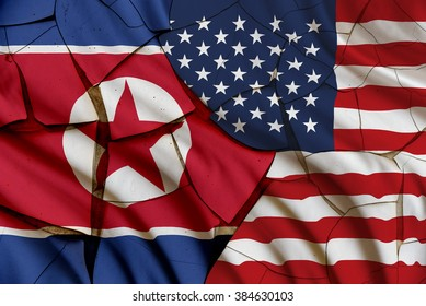 Flag of USA and North Korea on a cracked painted wall. A symbol of conflict between two nations, Washington and Pyongyang. Tension escalated after several provocations i.e. missile launched, nuke test