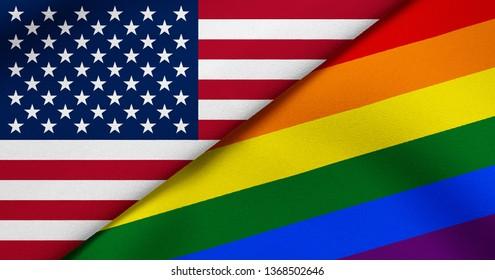 Flag of USA and Rainbow flag (LGBT movement)