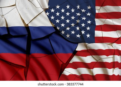 Flag of the USA and Russia on a cracked paint wall . A symbol of various conflict between these 2 nations i.e. economic, military, space, diplomatic, trade, armed, politic, investment, naval, areal.