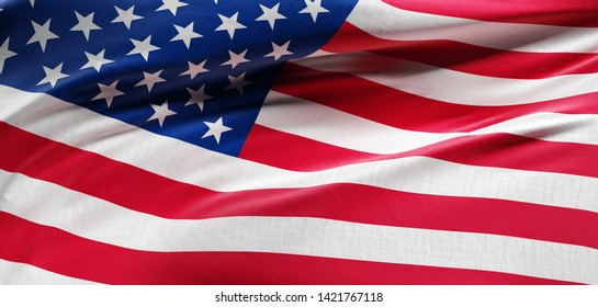 Flag of USA - United States of America. 3D illustration.