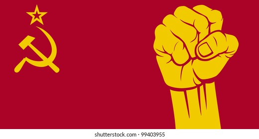 flag of ussr and fist
