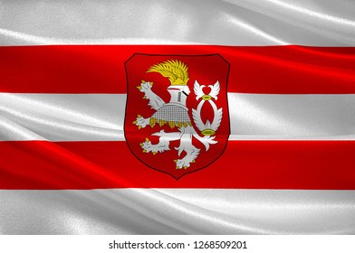 Flag of Usti nad Labem is the 7th-most populous city of the Czech Republic. 3d illustration