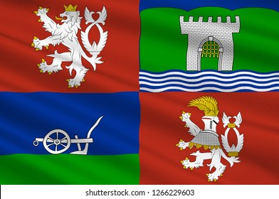 Flag of Usti nad Labem Region is an administrative unit of the Czech Republic. 3d illustration