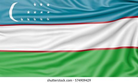 Flag of Uzbekistan, 3d illustration with fabric texture