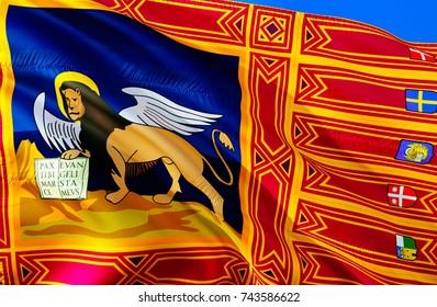 Flag of Veneto. Republic of Veneto flag wallpaper waving in the wind. Veneto Italy background. Italian state autonomia background. 3D rendering. veneto rome. Venice sign image wallpaper