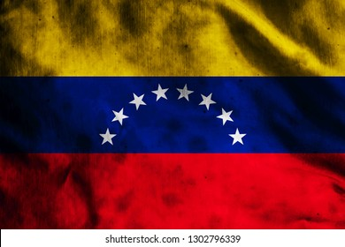 Flag of Venezuela on old fabric
