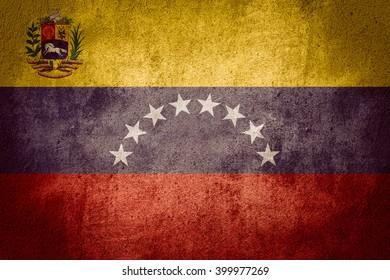 flag of Venezuela or Venezuelan banner on rough pattern background