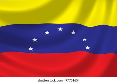 Flag of Venezuela waving in the wind detail