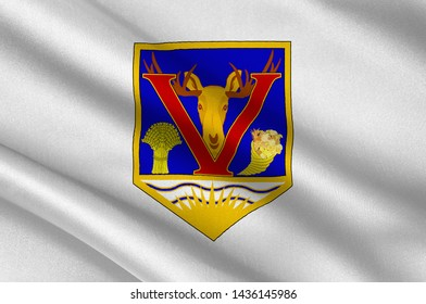 Flag of Vernon is a city in the Okanagan region of the Southern Interior of British Columbia, Canada. 3d illustration