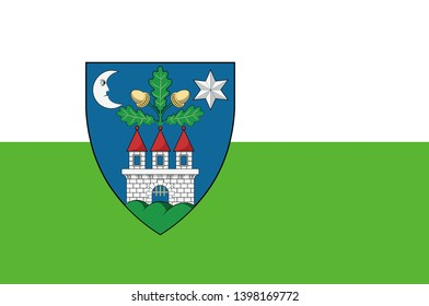Flag of Veszprem is an administrative county in Hungary. 2d illustration