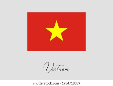 Flag of Vietnam and handwritten name of the country.