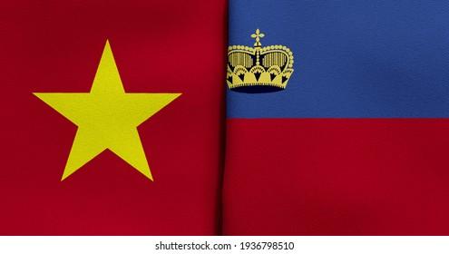 Flag of Vietnam and Liechtenstein - 3D illustration. Two Flag Together - Fabric Texture