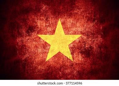 flag of Vietnam or Vietnamese banner on rough pattern texture vintage background