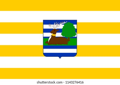 Flag of Vukovar-Srijem County is the easternmost Croatian county. 3d illustration