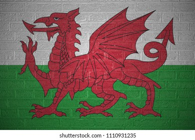 Flag of Wales on brick wall, 3d illustration