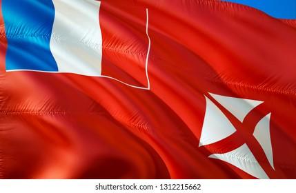 Flag of Wallis and Futuna. 3D Waving flag design. The national symbol of Wallis and Futuna, 3D rendering. National colors of Wallis and Futuna 3D Waving sign background design