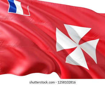 Flag of Wallis And Futuna waving in the wind, isolated white background.