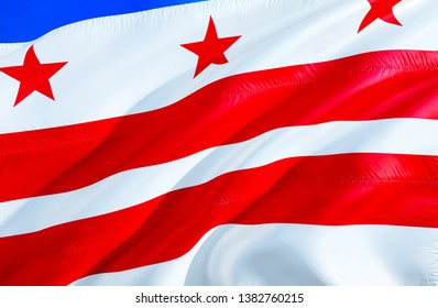 Flag of Washington D.C.. 3D Waving flag design. Emblem of Washington D.C. and District of Columbia, 3D rendering. National colors of Washington D.C. 3D Waving USA state flags background concept