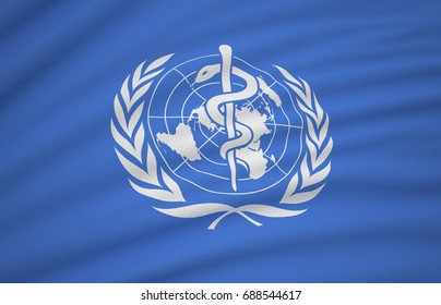Flag of the World Health Organization 3D Render