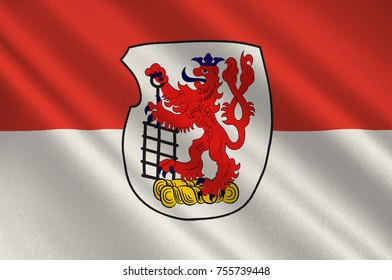Flag of Wuppertal is a city in North Rhine-Westphalia, Germany. 3d illustration