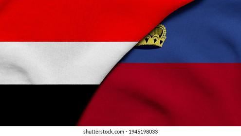 Flag of Yemen and Liechtenstein - 3D illustration. Two Flag Together - Fabric Texture