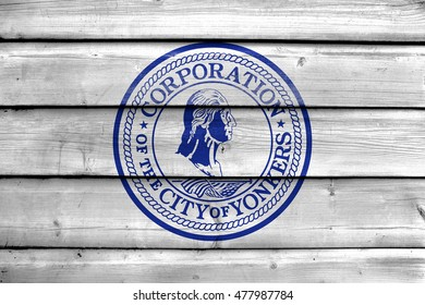 Flag of Yonkers, New York, USA, painted on old wood plank background