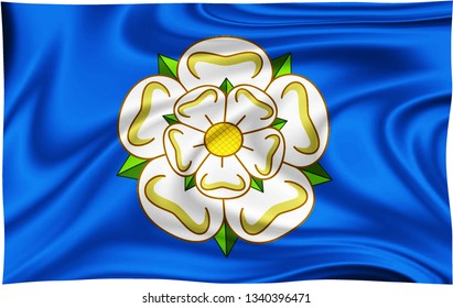 Flag of YORKSHIRE COUNTY Location of England isolated on a white background with clipping path 3D illustration