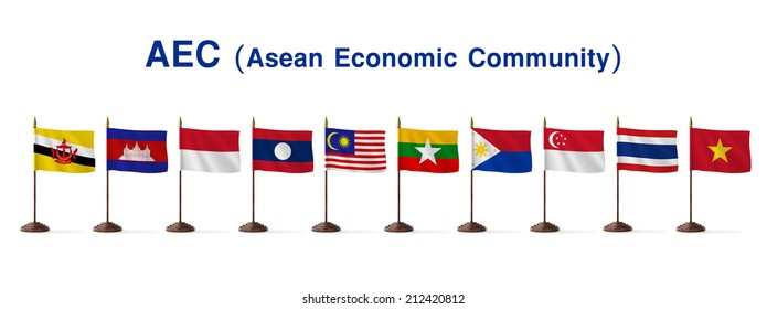 flags of AEC members, Asean Economic Community