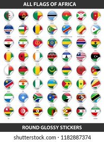 Flags of all countries of Africa. Round Glossy Stickers
