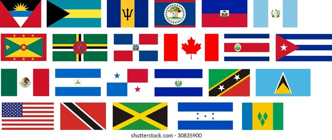 Flags of all North America countries. Illustration over white background