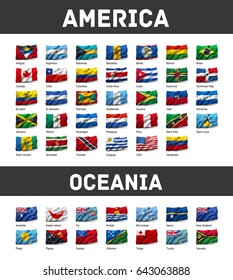 Flags of America and Oceania waving in the wind, isolated on white background