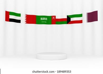 Flags around a circular platform