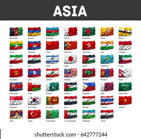 Flags of Asia waving in the wind, isolated on white background