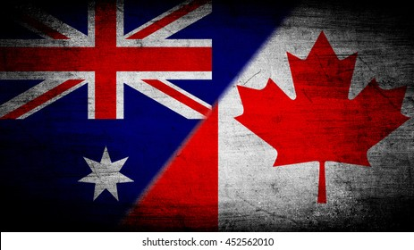Flags of Australia and Canada divided diagonally