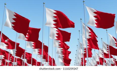 Flags of Bahrain on flagpole against blue sky.  3D rendering illustration.