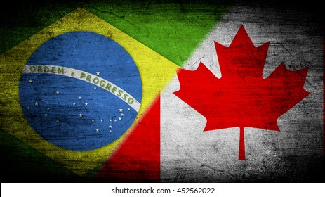 Flags of Brazil and Canada divided diagonally