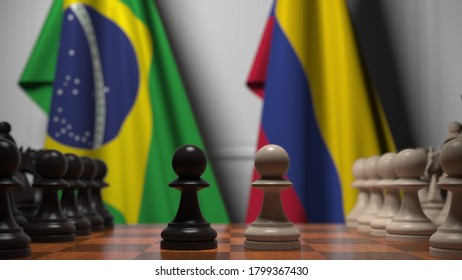 Flags of brazil and colombia behind pawns on the chessboard. chess game or political rivalry related  3D rendering