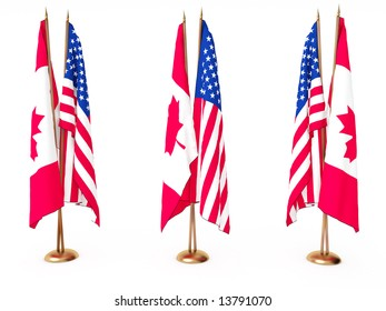 flags of Canada and the United State isolated white