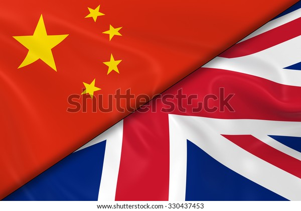 Flags of China and the United Kingdom Divided Diagonally - 3D Render of the Chinese Flag and UK Flag with Silky Texture