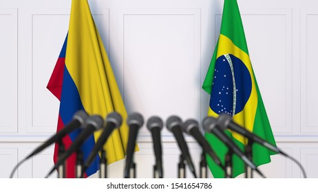 Flags of Colombia and Brazil at international meeting or conference. 3D rendering