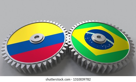 Flags of Colombia and Brazil on meshing gears. International cooperation conceptual 3D rendering